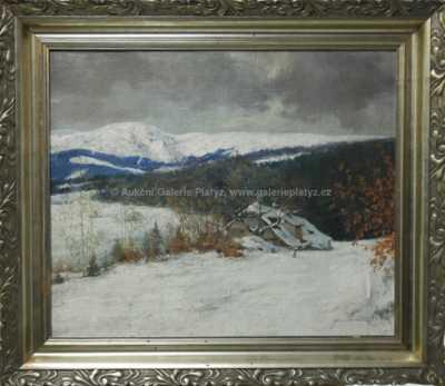 Bedřich Peroutka - Roubenka pod sněhem