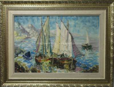 Karel Šustek - Plachetnice u pobřeží