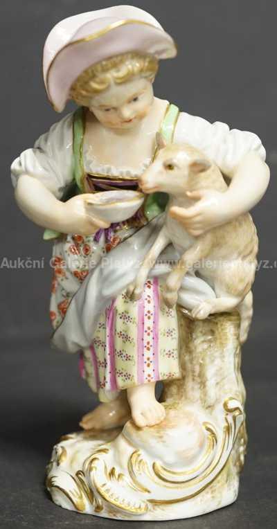 Porcelán - Dívka s ovečkou