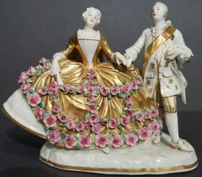 Porcelán - Sousoší s růžičkami