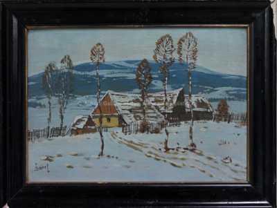 Autor neurčen - Vesnička v zimě