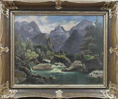 Nesignováno - Řeka v horách