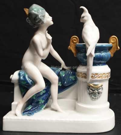 Porcelán - Dáma a papoušek