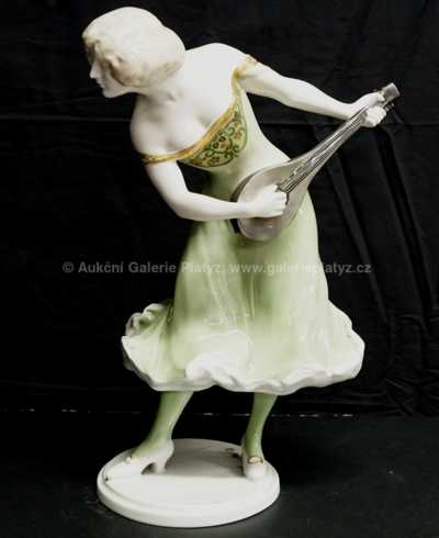 Porcelán - Dáma s loutnou
