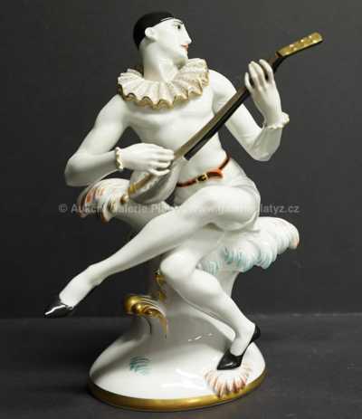 Porcelán - Pierot s loutnou
