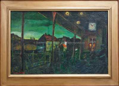 Dejvické nádraží v noci