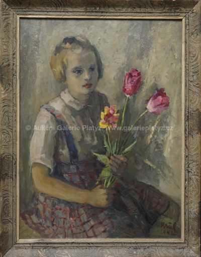 Josef Krčil - Dívka s kyticí