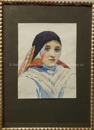 Jóža Nesázal - Portrét krojované dívky
