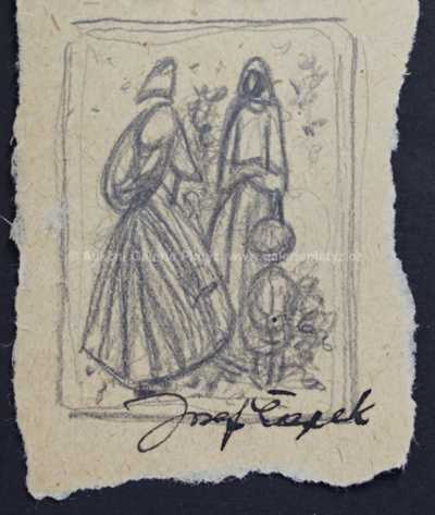"""Josef Čapek - Náčrtek k obrazu """"Dvě ženy"""""""