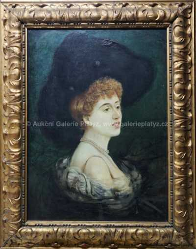 Autor neurčen - Dáma v klobouku