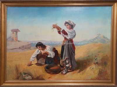 Autor neurčen - Dívky při sklizni