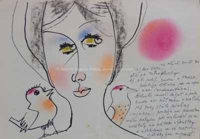 Ota Janeček - Dívka s ptáčky