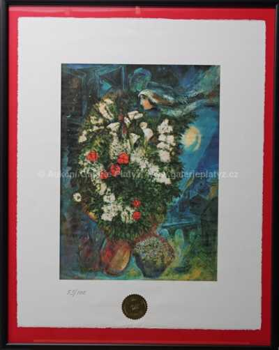 Mark Chagall - Love couple and flowers stony