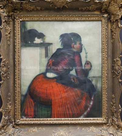 Autor neurčen - Dívka a kočka