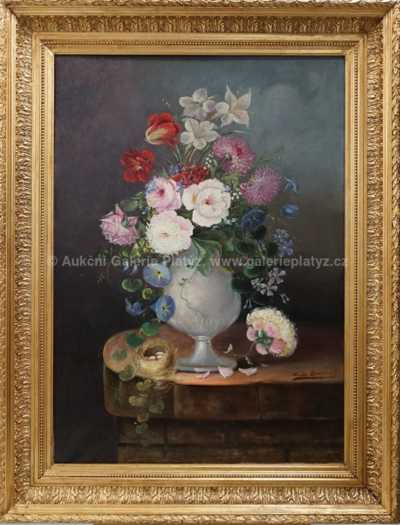 Autor neurčen - Květinové zátiší s hnízdem