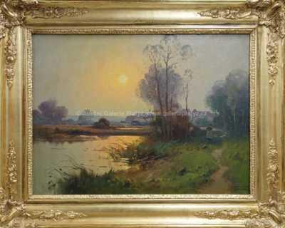 Autor neurčen - Západ slunce nad rybníkem