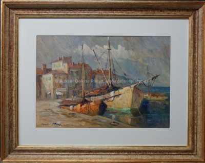 Karel Hodr - Rybářské lodě u nábřeží