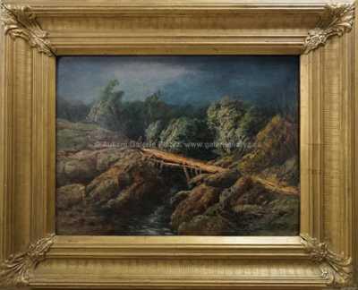 A. B. Piepenhagen - Krajina v bouři s lávkou a potokem