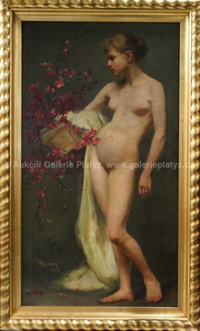 Vojtěch Hynais - Dívčí akt s květinou