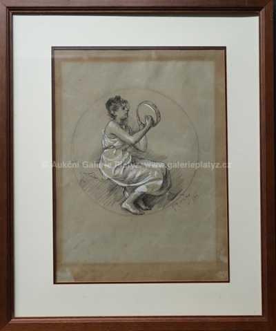 Alfons Mucha - Dívka s tamburínou