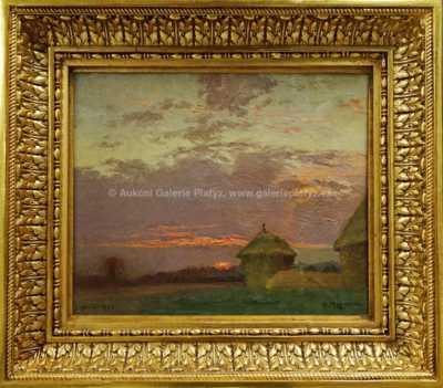 Autor neurčen - Západ slunce nad krajinou