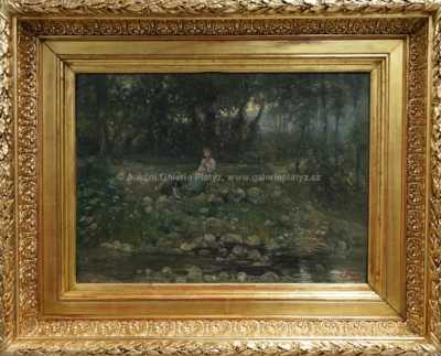Autor neurčen - Dívka u potoka