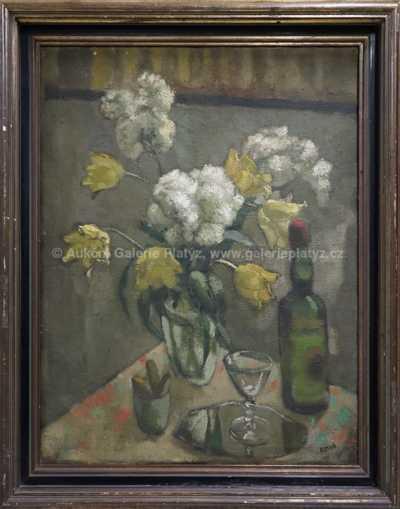 Georges Kars - Zátiší s lahví a kyticí
