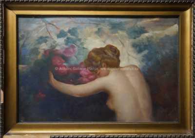 Autor neurčen - Dívka u rozkvetlého keře