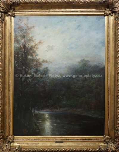 Josef Ullmann - Noční krajina při měsíčním svitu