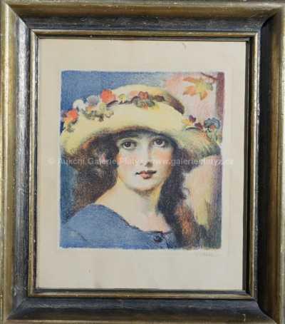 František Xaver Naske - Dívka v klobouku