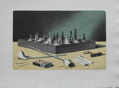 Cyril Bouda - Zátiší se šachovnicí