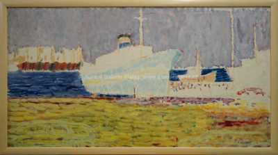 Kamil Linhart - Bílá loď v přístavu Pireus