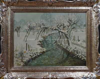 Potok v Giverny v zimě