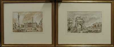 Autor neurčen - Konvolut dvou akvarelů Itálie 19. století