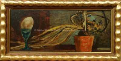 Josef Liesler - Zátiší s květinou a vejcem