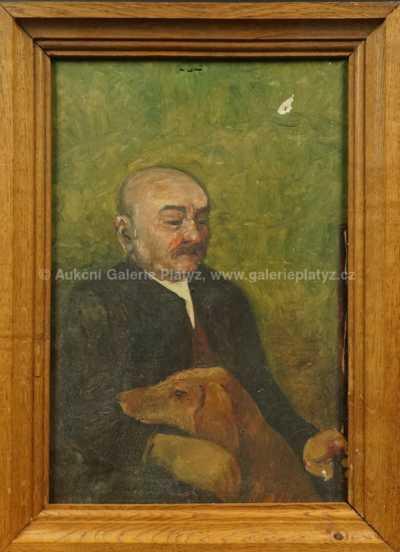 Neznačeno - Portrét muže se psem