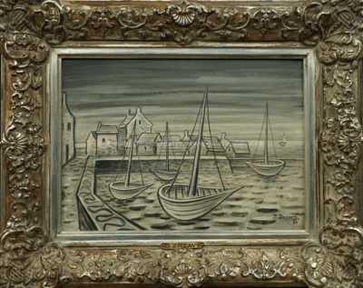 Bretaňský přístav se čtyřmi loděmi