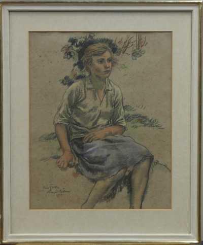 Karel Špillar - Sedící dívka