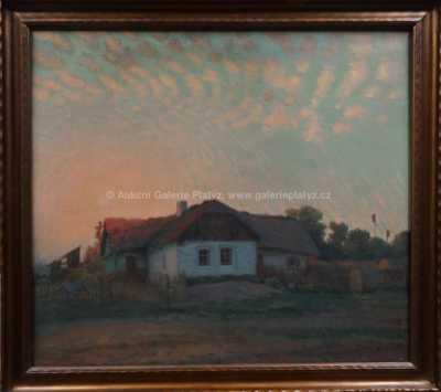 Rudolf Bém (Vratislav Hlava) - Západ slunce nad stavením