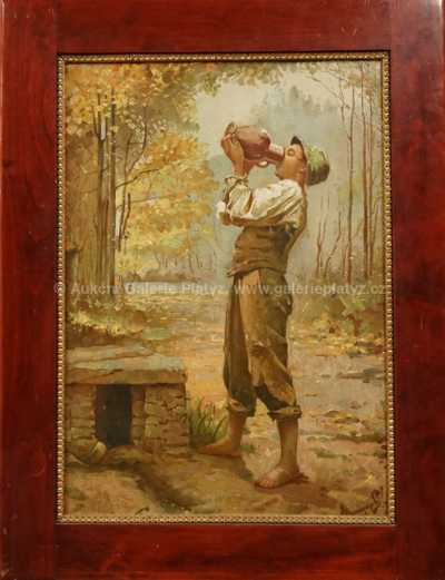 Autor neurčen - Chlapec u pramene